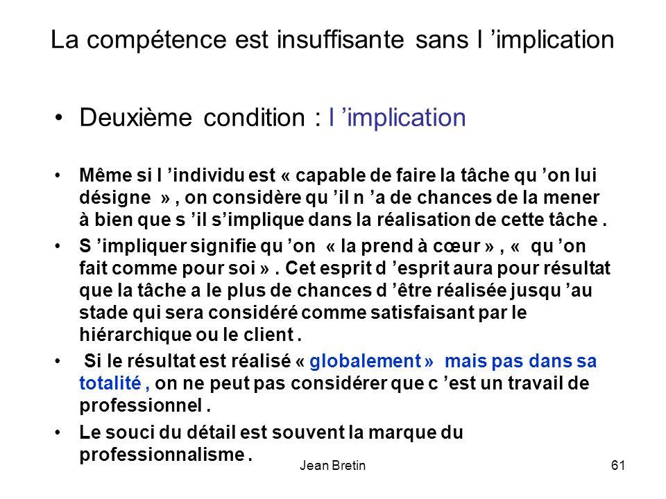 Jean Bretin61 La compétence est insuffisante sans l implication Deuxième condition : l implication Même si l individu est « capable de faire la tâche qu on lui désigne », on considère qu il n a de chances de la mener à bien que s il simplique dans la réalisation de cette tâche.