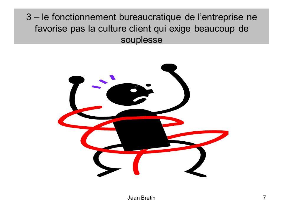 Jean Bretin7 3 – le fonctionnement bureaucratique de lentreprise ne favorise pas la culture client qui exige beaucoup de souplesse