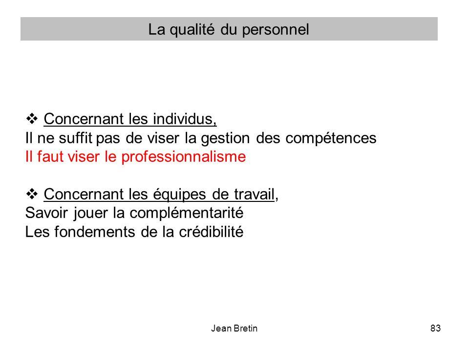 Jean Bretin83 Concernant les individus, Il ne suffit pas de viser la gestion des compétences Il faut viser le professionnalisme Concernant les équipes de travail, Savoir jouer la complémentarité Les fondements de la crédibilité La qualité du personnel