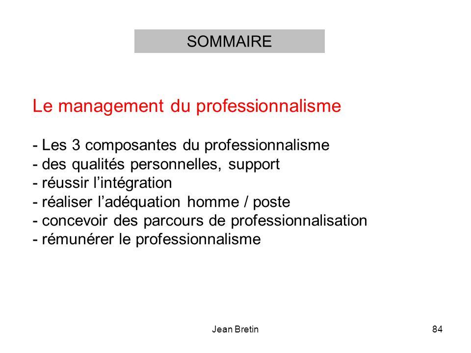 Jean Bretin84 Le management du professionnalisme - Les 3 composantes du professionnalisme - des qualités personnelles, support - réussir lintégration - réaliser ladéquation homme / poste - concevoir des parcours de professionnalisation - rémunérer le professionnalisme SOMMAIRE