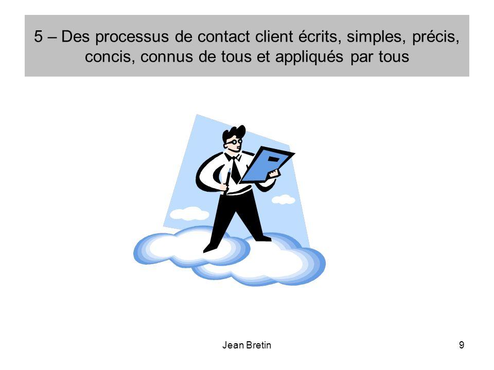 Jean Bretin9 5 – Des processus de contact client écrits, simples, précis, concis, connus de tous et appliqués par tous