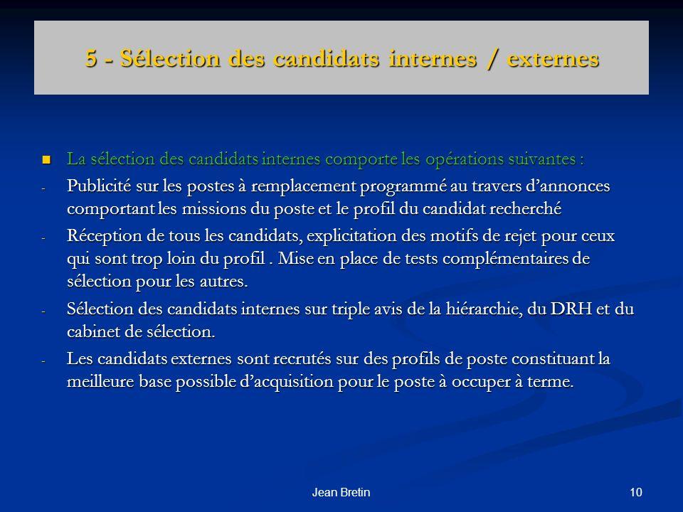 10Jean Bretin 5 - Sélection des candidats internes / externes La sélection des candidats internes comporte les opérations suivantes : La sélection des