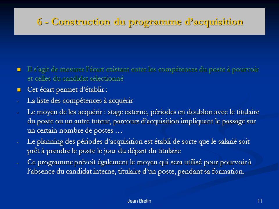 11Jean Bretin 6 - Construction du programme dacquisition Il sagit de mesurer lécart existant entre les compétences du poste à pourvoir et celles du ca