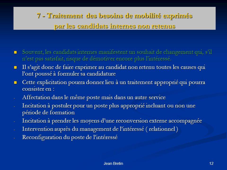 12Jean Bretin 7 - Traitement des besoins de mobilité exprimés par les candidats internes non retenus Souvent, les candidats internes manifestent un so