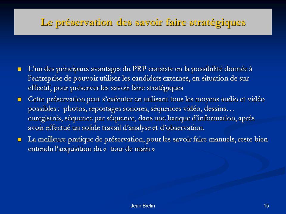 15Jean Bretin Le préservation des savoir faire stratégiques Lun des principaux avantages du PRP consiste en la possibilité donnée à lentreprise de pou