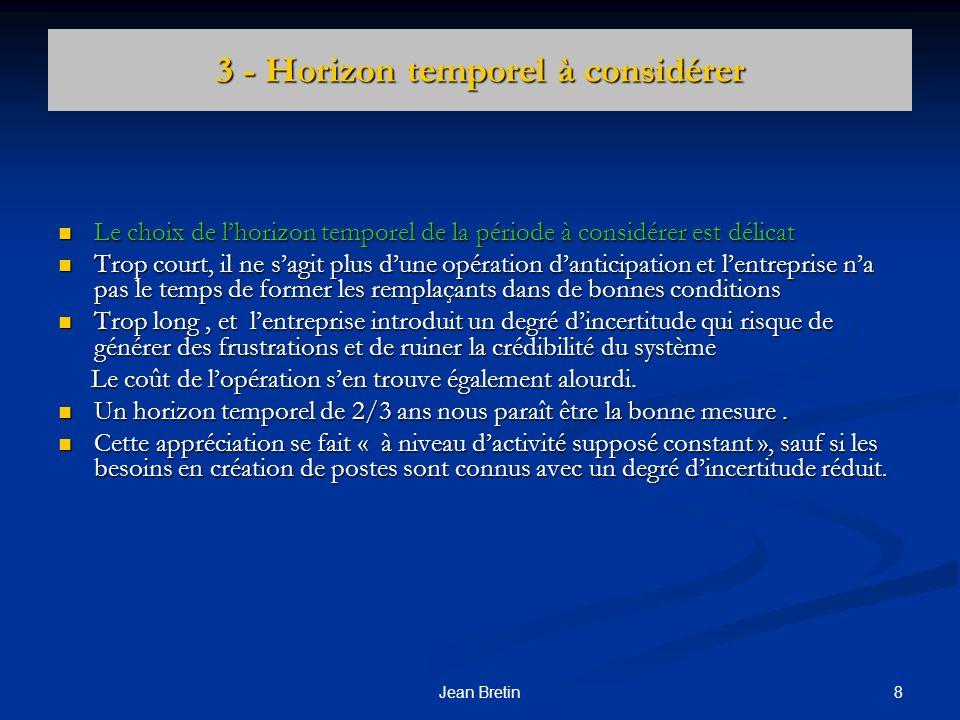 8Jean Bretin 3 - Horizon temporel à considérer Le choix de lhorizon temporel de la période à considérer est délicat Le choix de lhorizon temporel de l