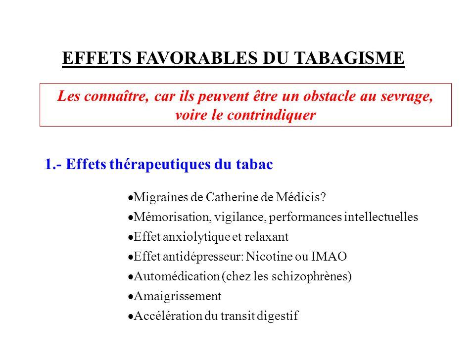 EFFETS FAVORABLES DU TABAGISME Les connaître, car ils peuvent être un obstacle au sevrage, voire le contrindiquer 1.- Effets thérapeutiques du tabac M