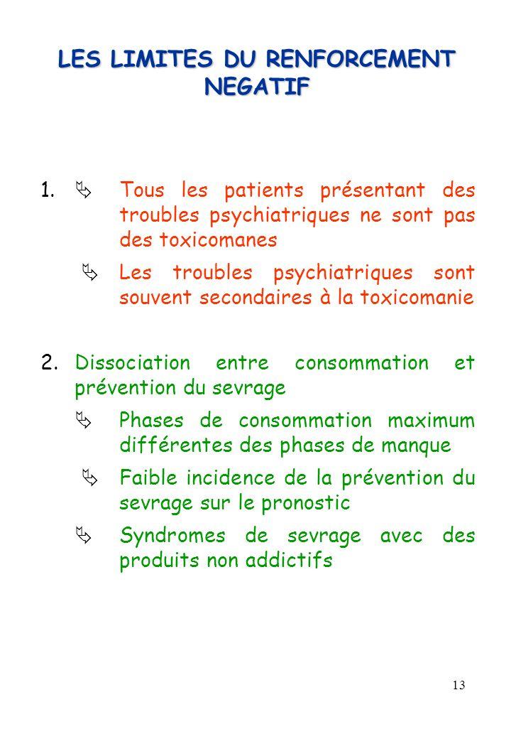 13 LES LIMITES DU RENFORCEMENT NEGATIF 1. Tous les patients présentant des troubles psychiatriques ne sont pas des toxicomanes Les troubles psychiatri