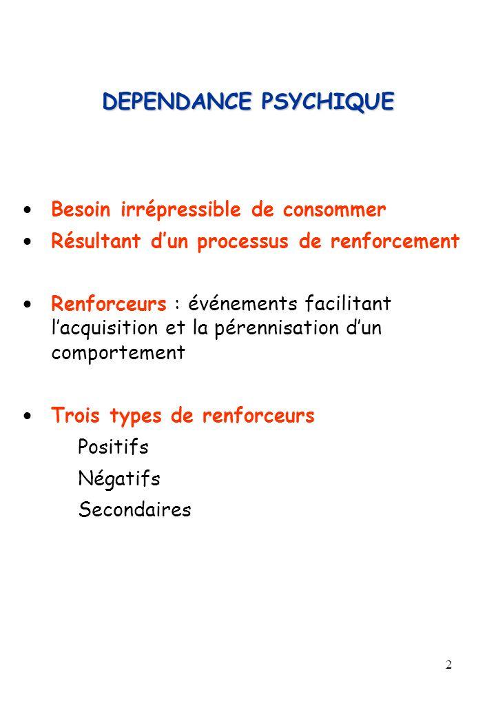 2 DEPENDANCE PSYCHIQUE Besoin irrépressible de consommer Résultant dun processus de renforcement Renforceurs : événements facilitant lacquisition et l