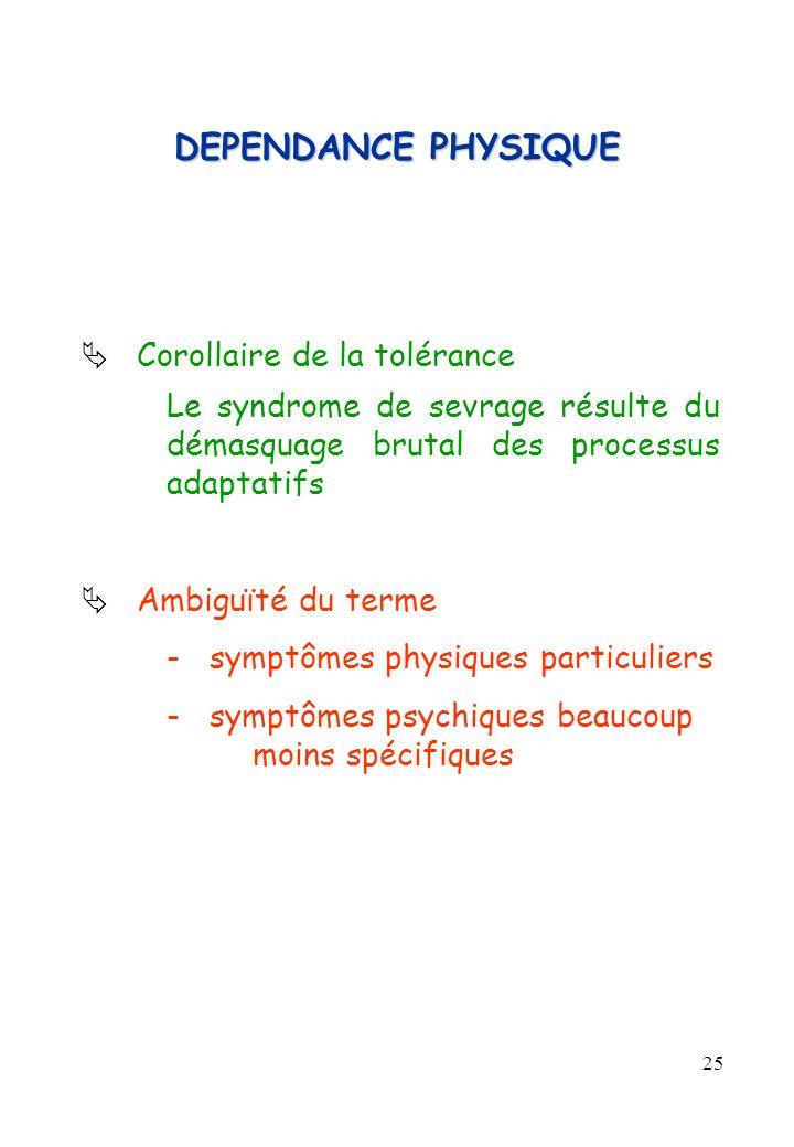 25 DEPENDANCE PHYSIQUE Corollaire de la tolérance Le syndrome de sevrage résulte du démasquage brutal des processus adaptatifs Ambiguïté du terme -sym