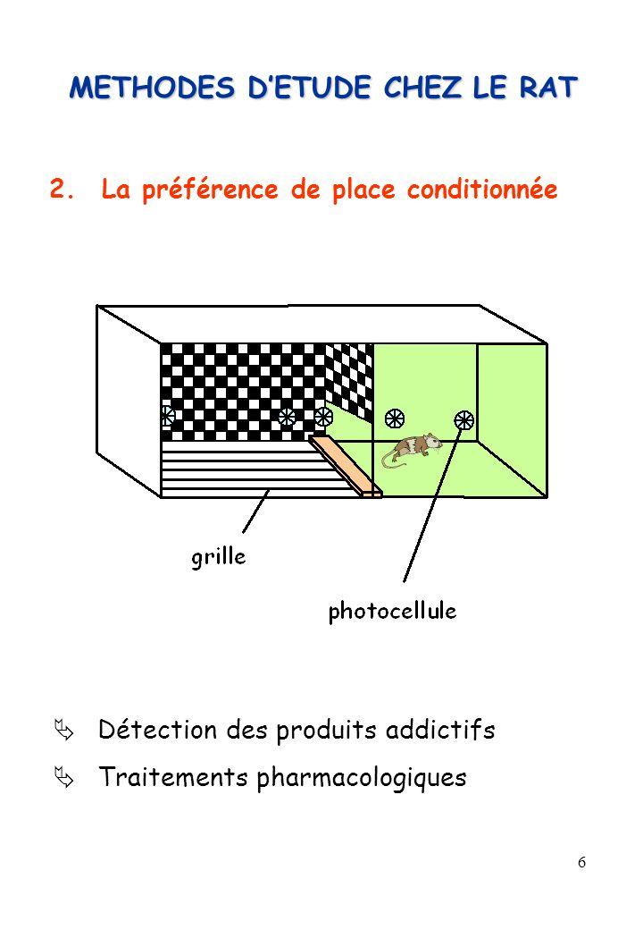6 2.La préférence de place conditionnée Détection des produits addictifs Traitements pharmacologiques