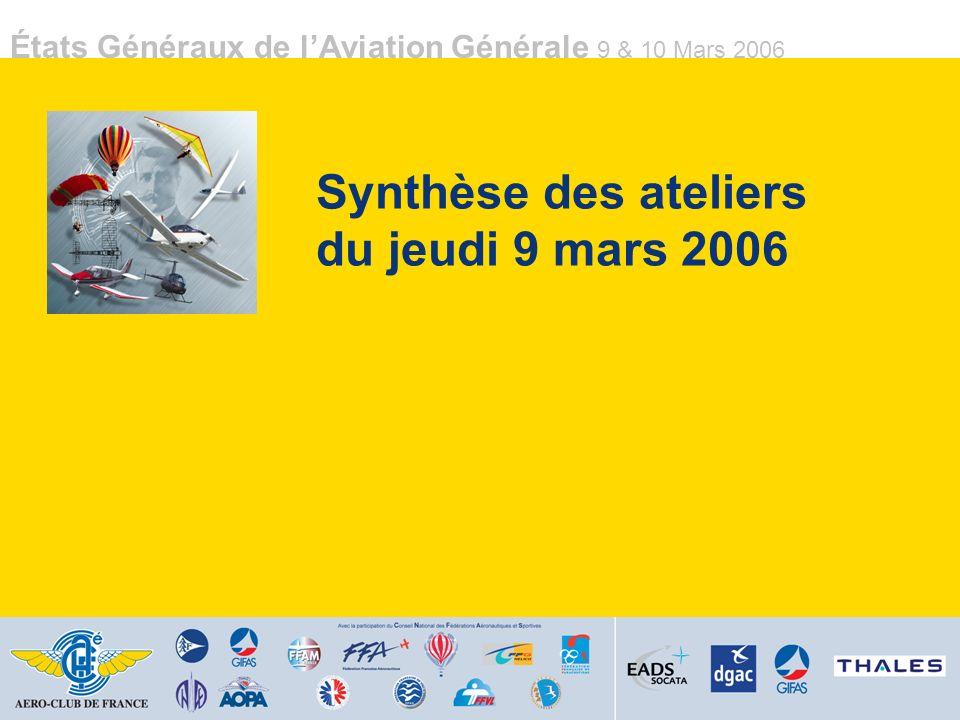 États Généraux de lAviation Générale 9 & 10 Mars 2006 Synthèse des ateliers du jeudi 9 mars 2006