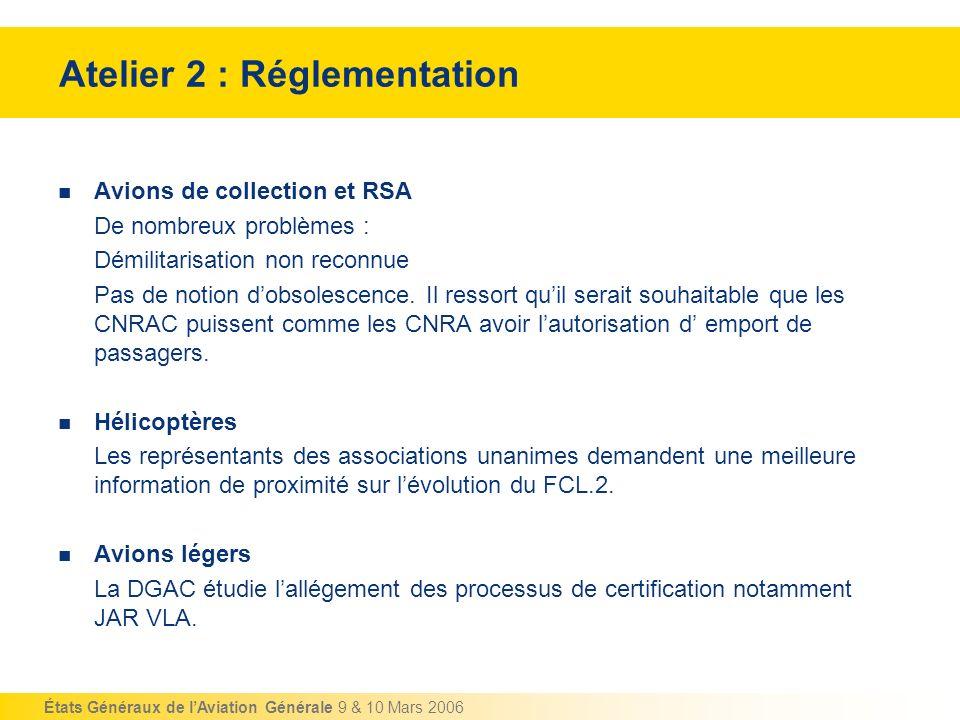 États Généraux de lAviation Générale 9 & 10 Mars 2006 Atelier 2 : Réglementation Avions de collection et RSA De nombreux problèmes : Démilitarisation
