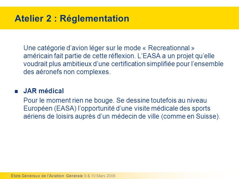 États Généraux de lAviation Générale 9 & 10 Mars 2006 Atelier 2 : Réglementation Une catégorie davion léger sur le mode « Recreationnal » américain fa