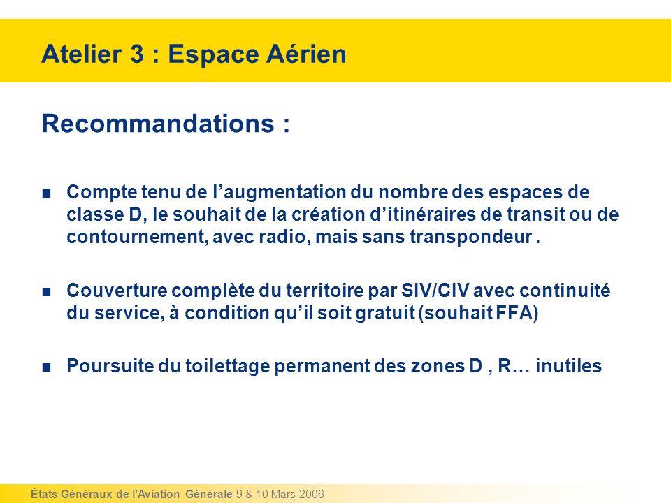 États Généraux de lAviation Générale 9 & 10 Mars 2006 Recommandations : Compte tenu de laugmentation du nombre des espaces de classe D, le souhait de