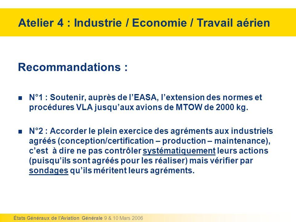 États Généraux de lAviation Générale 9 & 10 Mars 2006 Recommandations : N°1 : Soutenir, auprès de lEASA, lextension des normes et procédures VLA jusqu