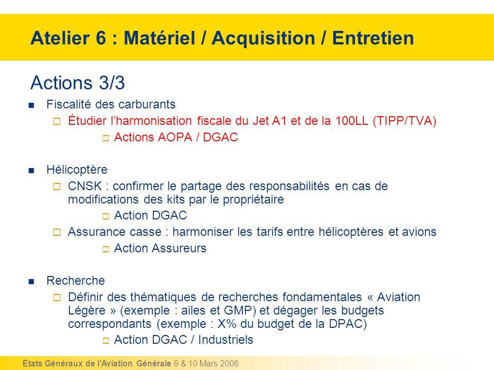 États Généraux de lAviation Générale 9 & 10 Mars 2006 Actions 3/3 Fiscalité des carburants Étudier lharmonisation fiscale du Jet A1 et de la 100LL (TI