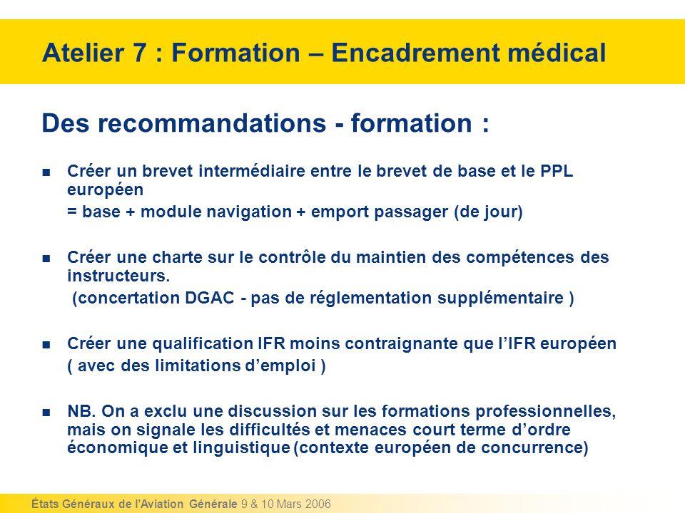 États Généraux de lAviation Générale 9 & 10 Mars 2006 Des recommandations - formation : Créer un brevet intermédiaire entre le brevet de base et le PP