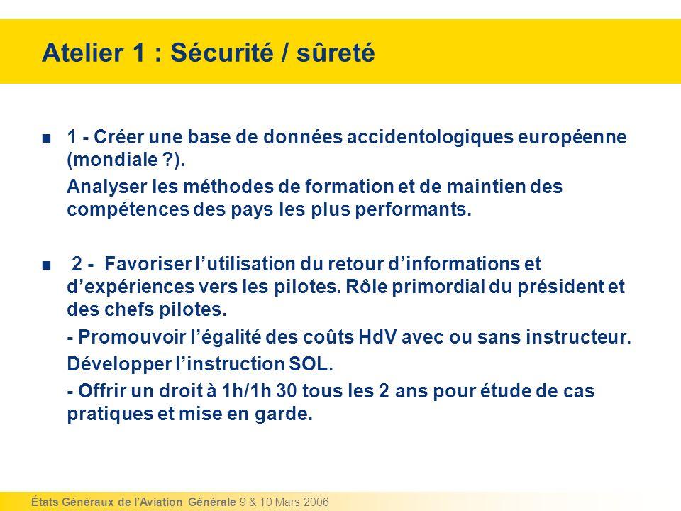 États Généraux de lAviation Générale 9 & 10 Mars 2006 Atelier 1 : Sécurité / sûreté 3 - Poursuivre les travaux de définition dune fondation dédiée à lamélioration de la sécurité (voir EASA ).