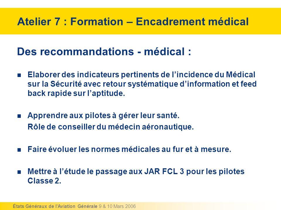 États Généraux de lAviation Générale 9 & 10 Mars 2006 Des recommandations - médical : Elaborer des indicateurs pertinents de lincidence du Médical sur
