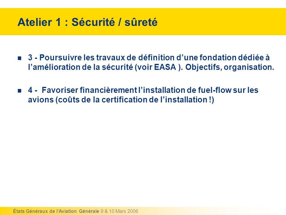 États Généraux de lAviation Générale 9 & 10 Mars 2006 Atelier 1 : Sécurité / sûreté 3 - Poursuivre les travaux de définition dune fondation dédiée à l