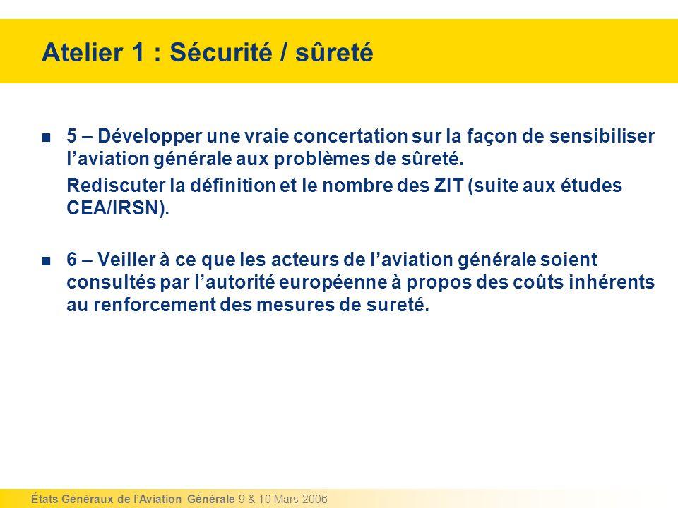 États Généraux de lAviation Générale 9 & 10 Mars 2006 Atelier 1 : Sécurité / sûreté 5 – Développer une vraie concertation sur la façon de sensibiliser
