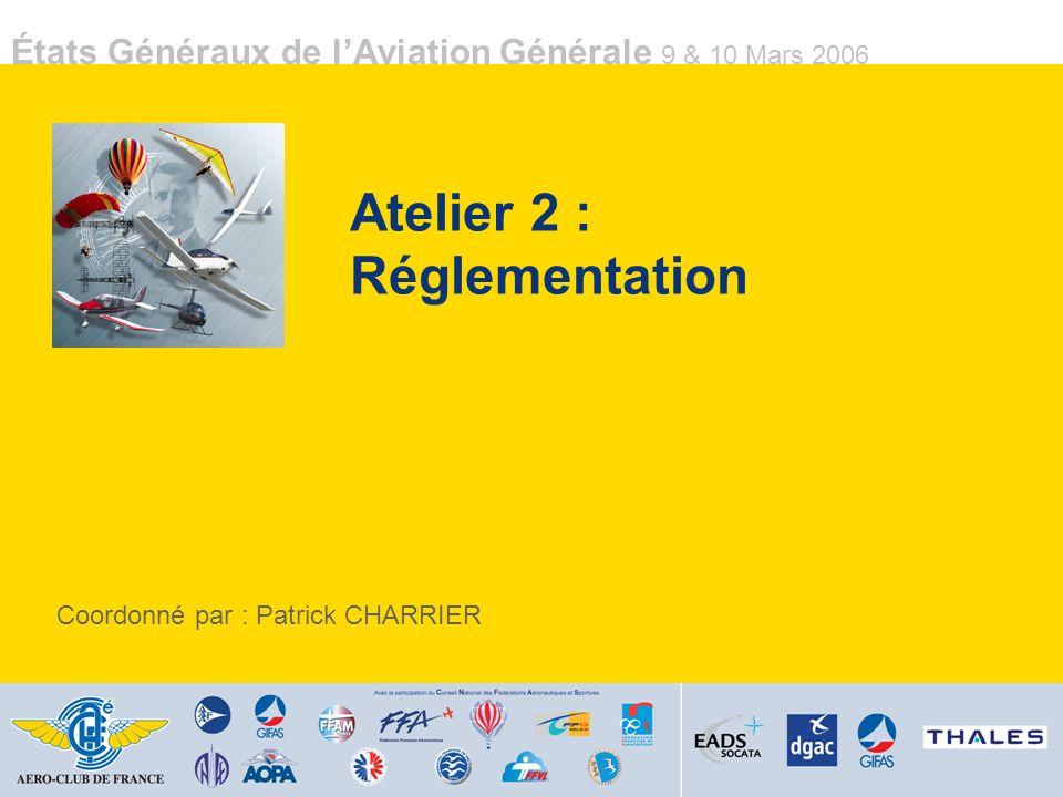 États Généraux de lAviation Générale 9 & 10 Mars 2006 Actions 3/3 Fiscalité des carburants Étudier lharmonisation fiscale du Jet A1 et de la 100LL (TIPP/TVA) Actions AOPA / DGAC Hélicoptère CNSK : confirmer le partage des responsabilités en cas de modifications des kits par le propriétaire Action DGAC Assurance casse : harmoniser les tarifs entre hélicoptères et avions Action Assureurs Recherche Définir des thématiques de recherches fondamentales « Aviation Légère » (exemple : ailes et GMP) et dégager les budgets correspondants (exemple : X% du budget de la DPAC) Action DGAC / Industriels Atelier 6 : Matériel / Acquisition / Entretien