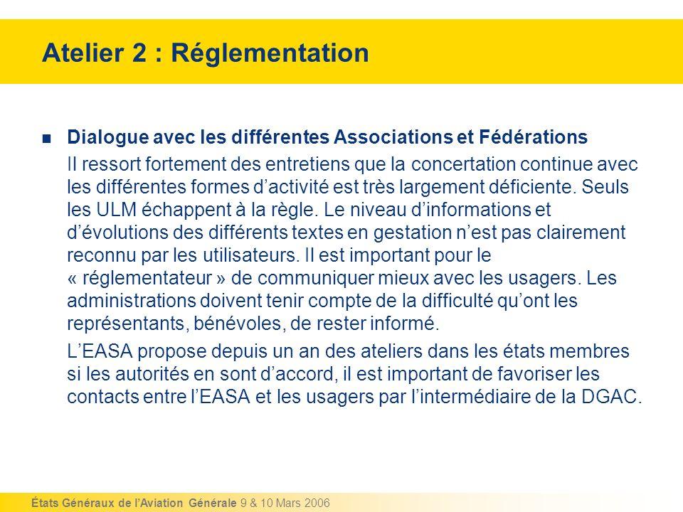 États Généraux de lAviation Générale 9 & 10 Mars 2006 Atelier 2 : Réglementation Dialogue avec les différentes Associations et Fédérations Il ressort