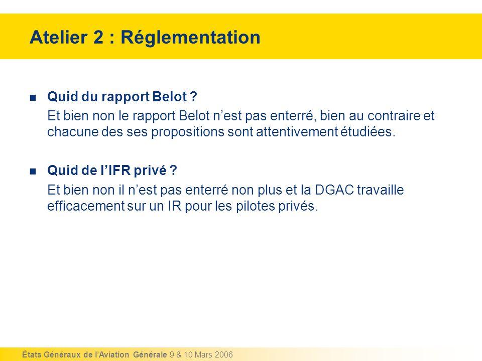 États Généraux de lAviation Générale 9 & 10 Mars 2006 Atelier 2 : Réglementation Quid du rapport Belot ? Et bien non le rapport Belot nest pas enterré