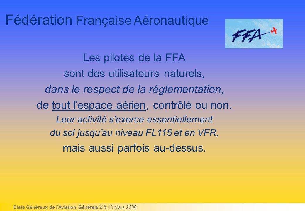 États Généraux de lAviation Générale 9 & 10 Mars 2006 Fédération Française Aéronautique Les pilotes de la FFA sont des utilisateurs naturels, dans le respect de la réglementation, de tout lespace aérien, contrôlé ou non.