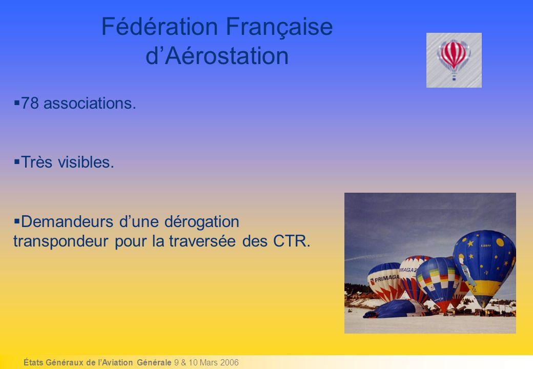 États Généraux de lAviation Générale 9 & 10 Mars 2006 Fédération Française dAérostation 78 associations.