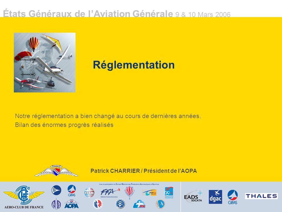 États Généraux de lAviation Générale 9 & 10 Mars 2006 Réglementation Notre réglementation a bien changé au cours de dernières années.