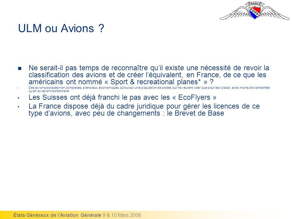 États Généraux de lAviation Générale 9 & 10 Mars 2006 ULM ou Avions .