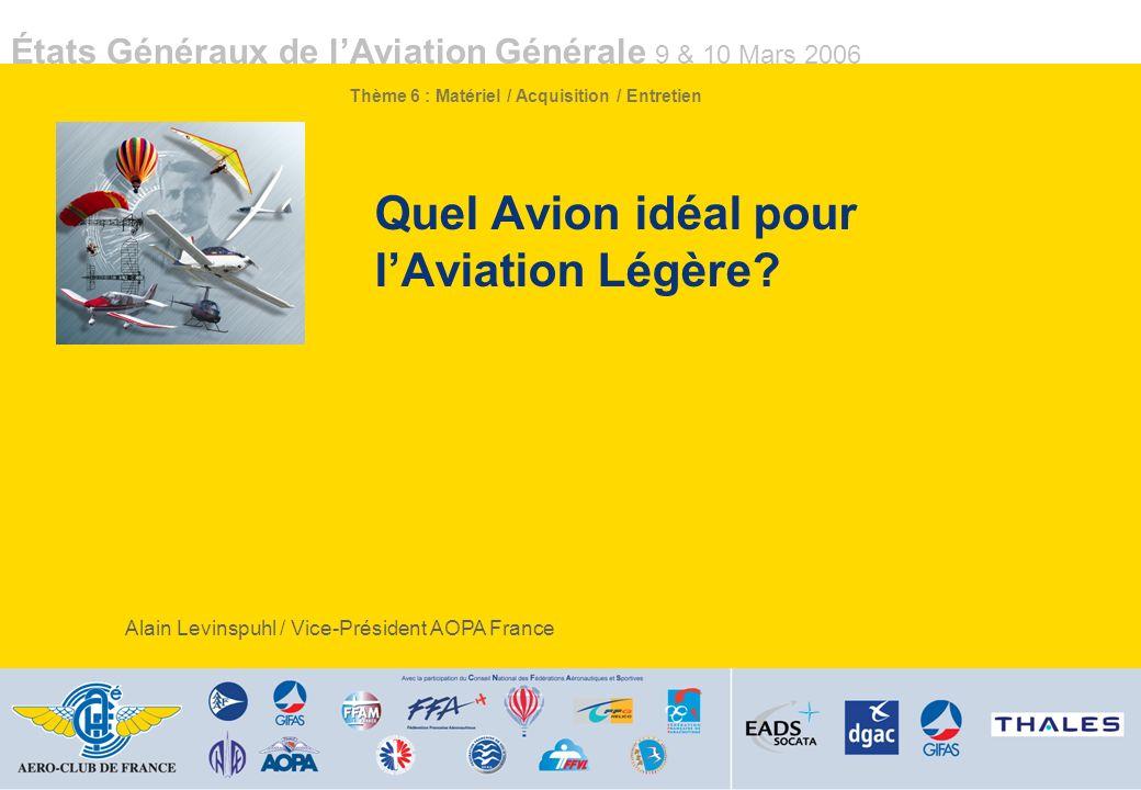 États Généraux de lAviation Générale 9 & 10 Mars 2006 Quel Avion idéal pour lAviation Légère.