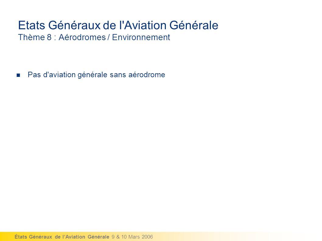 États Généraux de lAviation Générale 9 & 10 Mars 2006 Etats Généraux de l Aviation Générale Thème 8 : Aérodromes / Environnement Pas d aviation générale sans aérodrome