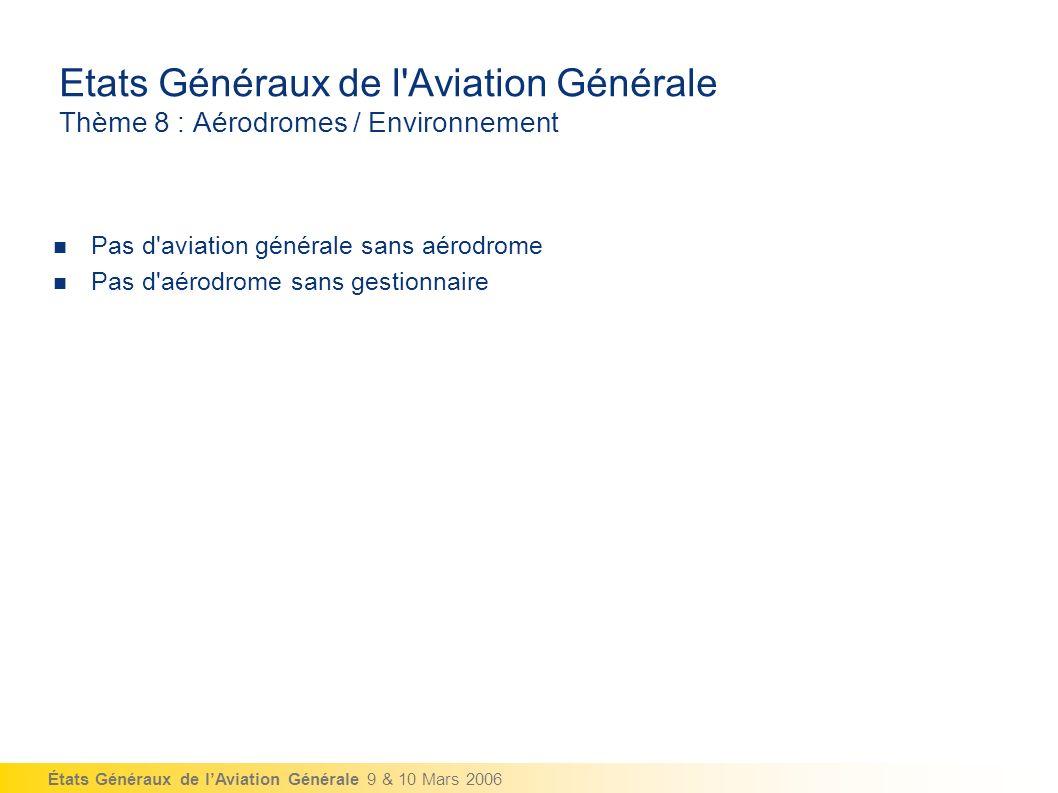 États Généraux de lAviation Générale 9 & 10 Mars 2006 Etats Généraux de l Aviation Générale Thème 8 : Aérodromes / Environnement Pas d aviation générale sans aérodrome Pas d aérodrome sans gestionnaire