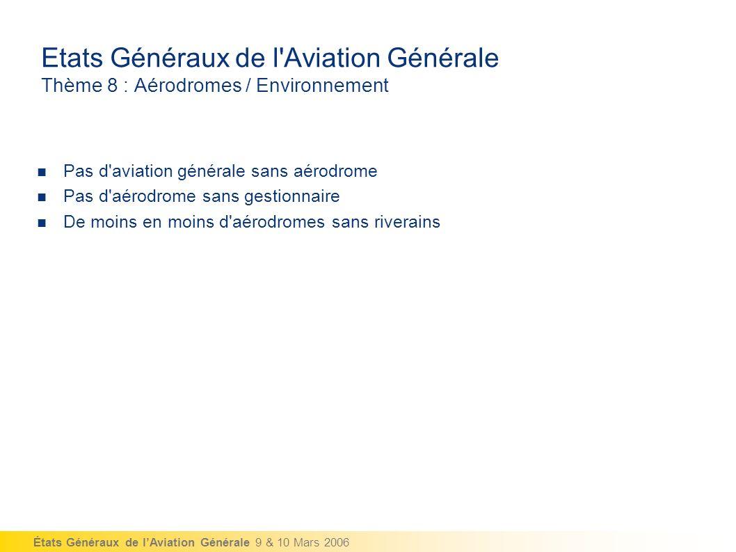États Généraux de lAviation Générale 9 & 10 Mars 2006 Etats Généraux de l Aviation Générale Thème 8 : Aérodromes / Environnement Pas d aviation générale sans aérodrome Pas d aérodrome sans gestionnaire De moins en moins d aérodromes sans riverains
