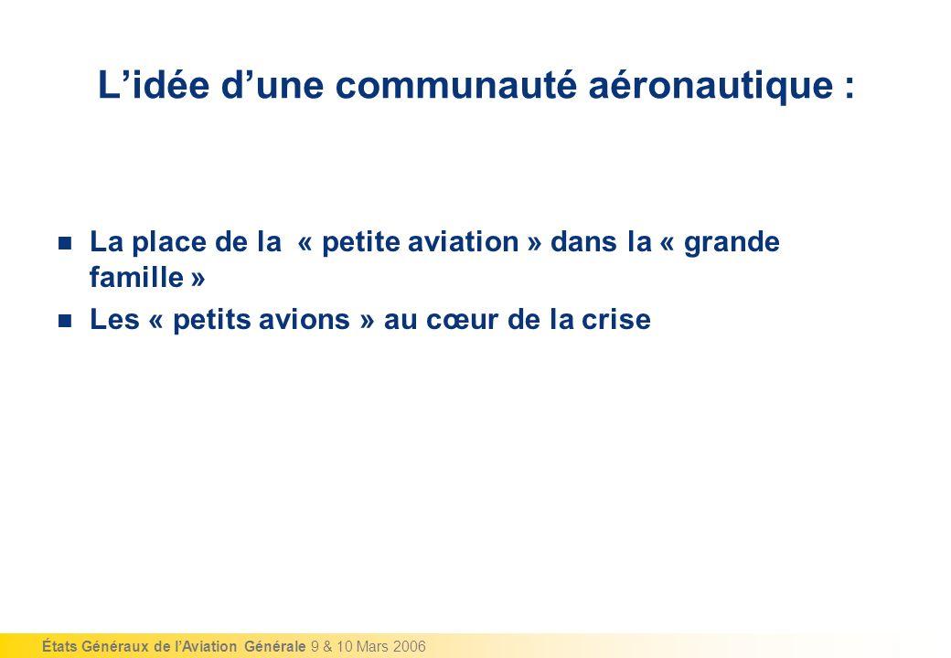 États Généraux de lAviation Générale 9 & 10 Mars 2006 Lidée dune communauté aéronautique : La place de la « petite aviation » dans la « grande famille » Les « petits avions » au cœur de la crise
