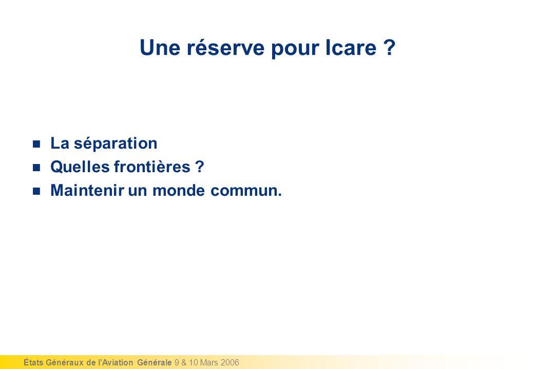 États Généraux de lAviation Générale 9 & 10 Mars 2006 Une réserve pour Icare .
