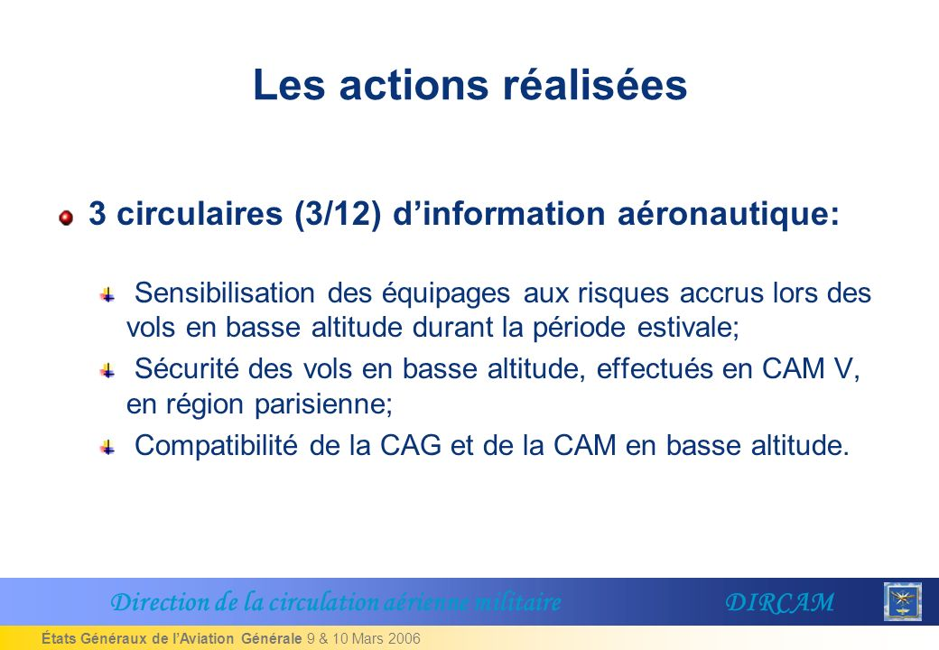 États Généraux de lAviation Générale 9 & 10 Mars 2006 Les actions réalisées 3 circulaires (3/12) dinformation aéronautique: Sensibilisation des équipages aux risques accrus lors des vols en basse altitude durant la période estivale; Sécurité des vols en basse altitude, effectués en CAM V, en région parisienne; Compatibilité de la CAG et de la CAM en basse altitude.