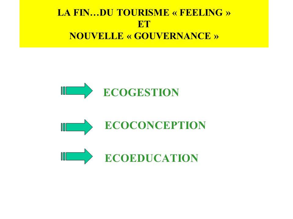 LA FIN…DU TOURISME « FEELING » ET NOUVELLE « GOUVERNANCE » ECOGESTION ECOCONCEPTION ECOEDUCATION