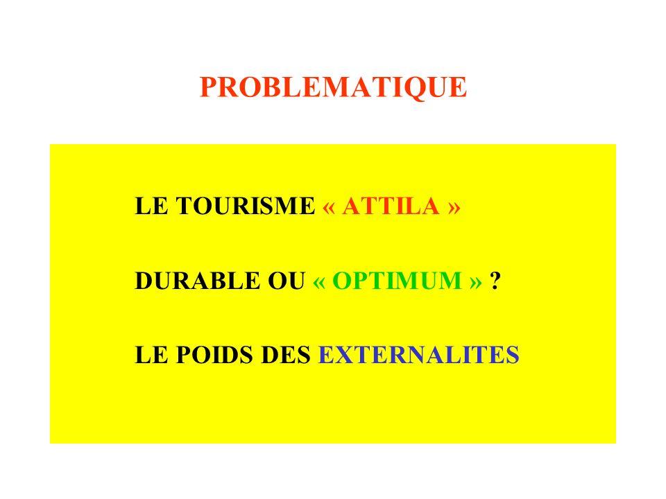 PROBLEMATIQUE LE TOURISME « ATTILA » DURABLE OU « OPTIMUM » ? LE POIDS DES EXTERNALITES
