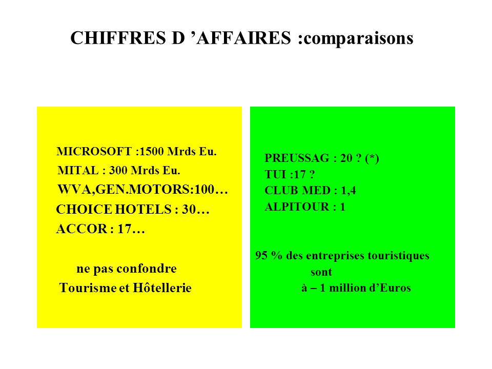 CHIFFRES D AFFAIRES :comparaisons MICROSOFT :1500 Mrds Eu. MITAL : 300 Mrds Eu. WVA,GEN.MOTORS:100… CHOICE HOTELS : 30… ACCOR : 17… ne pas confondre T