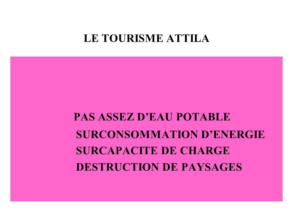 LE TOURISME ATTILA PAS ASSEZ DEAU POTABLE SURCONSOMMATION DENERGIE SURCAPACITE DE CHARGE DESTRUCTION DE PAYSAGES