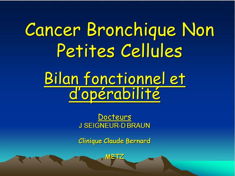 Cancer Bronchique Non Petites Cellules Bilan fonctionnel et dopérabilité Docteurs J SEIGNEUR-D BRAUN Clinique Claude Bernard METZ