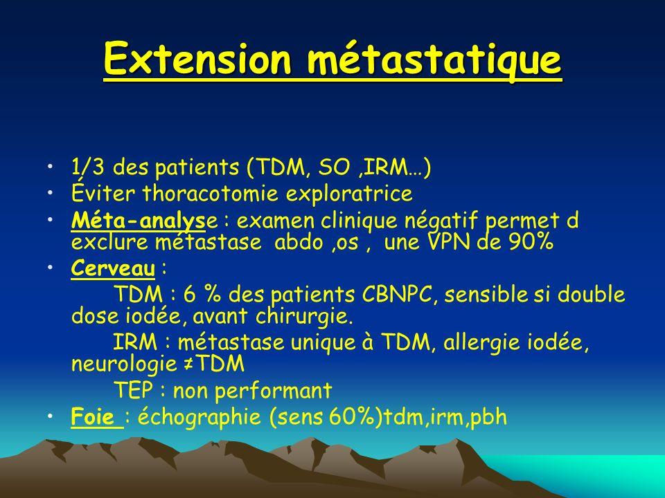 Extension métastatique 1/3 des patients (TDM, SO,IRM…) Éviter thoracotomie exploratrice Méta-analyse : examen clinique négatif permet d exclure métast