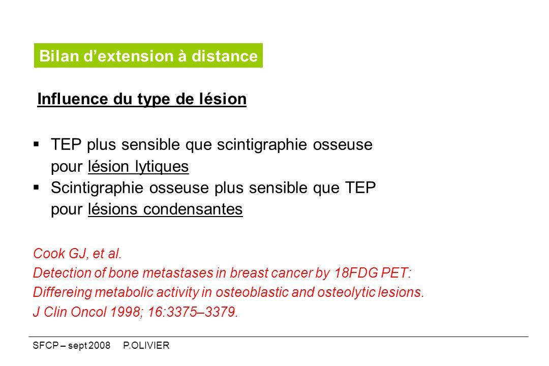 Influence du type de lésion TEP plus sensible que scintigraphie osseuse pour lésion lytiques Scintigraphie osseuse plus sensible que TEP pour lésions
