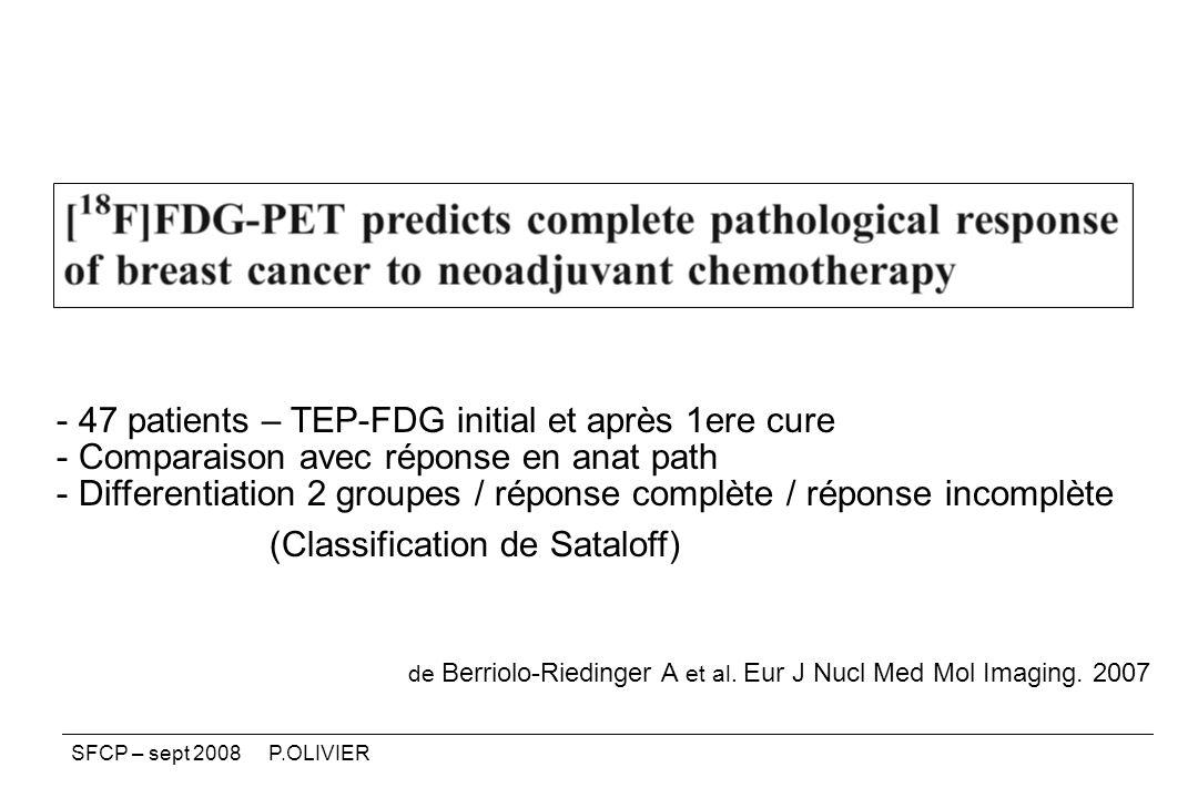 de Berriolo-Riedinger A et al. Eur J Nucl Med Mol Imaging. 2007 - 47 patients – TEP-FDG initial et après 1ere cure - Comparaison avec réponse en anat