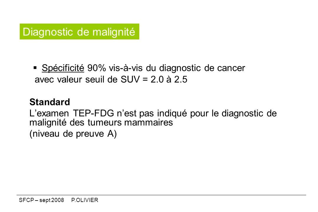 Spécificité 90% vis-à-vis du diagnostic de cancer avec valeur seuil de SUV = 2.0 à 2.5 Standard Lexamen TEP-FDG nest pas indiqué pour le diagnostic de