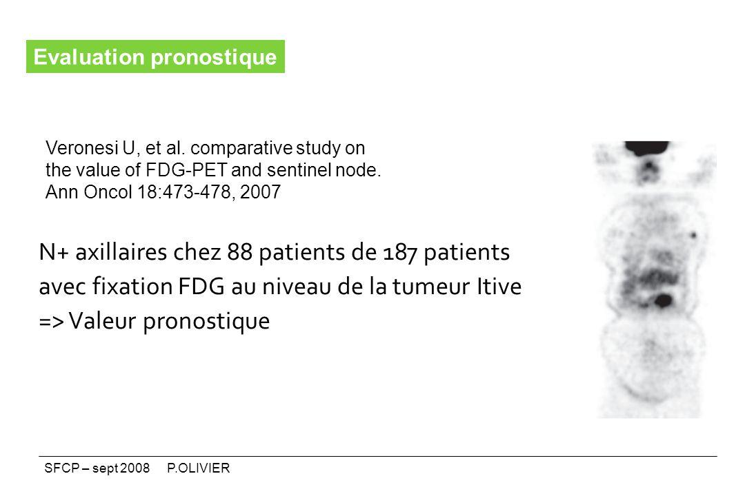 N+ axillaires chez 88 patients de 187 patients avec fixation FDG au niveau de la tumeur Itive => Valeur pronostique Veronesi U, et al. comparative stu